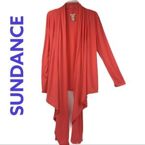 Sundance Peach Open Waterfall Cardigan Oversized